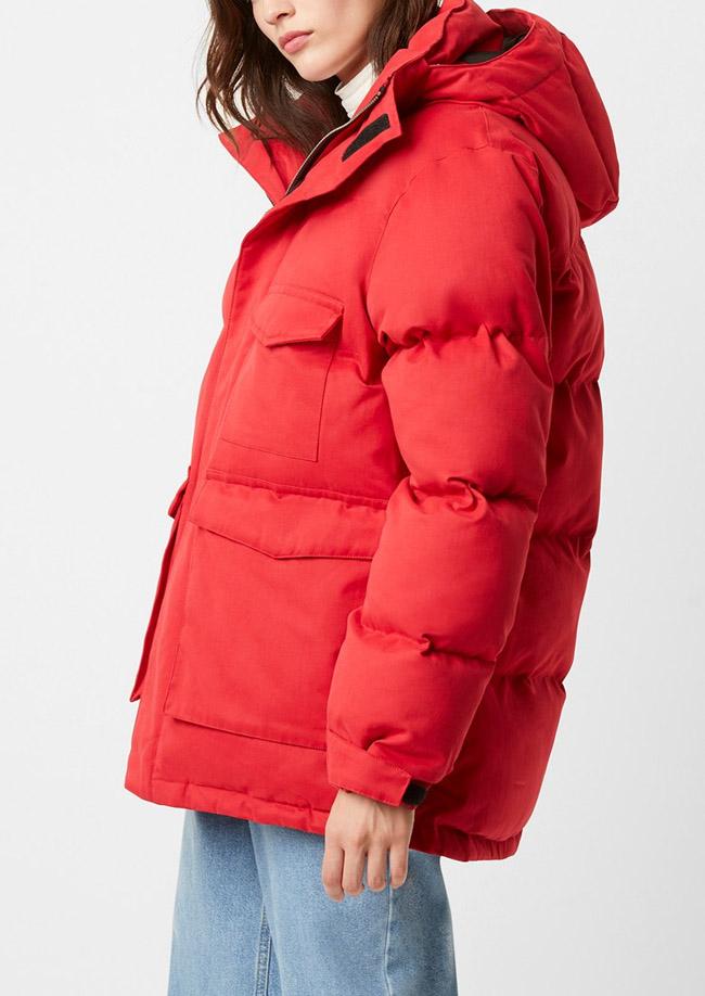 red puffer jacket women