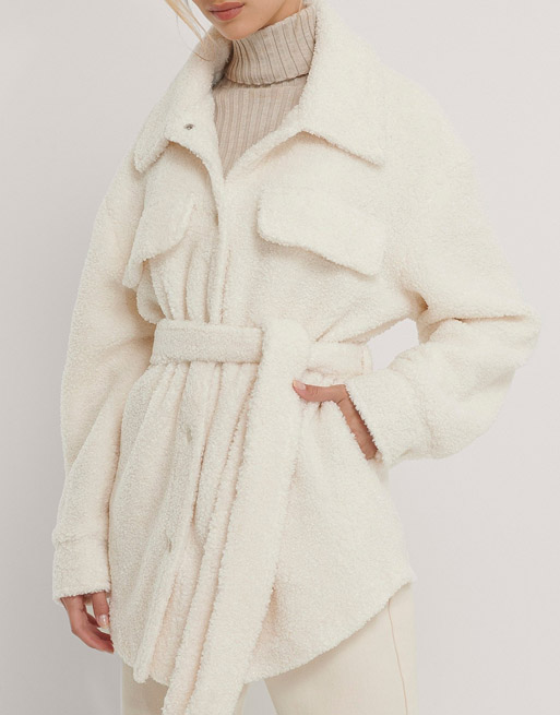 white shearling belted jacket