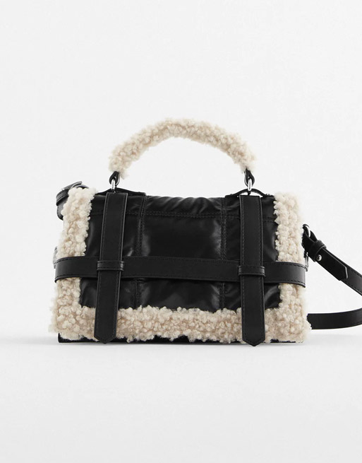 leather shearling bag