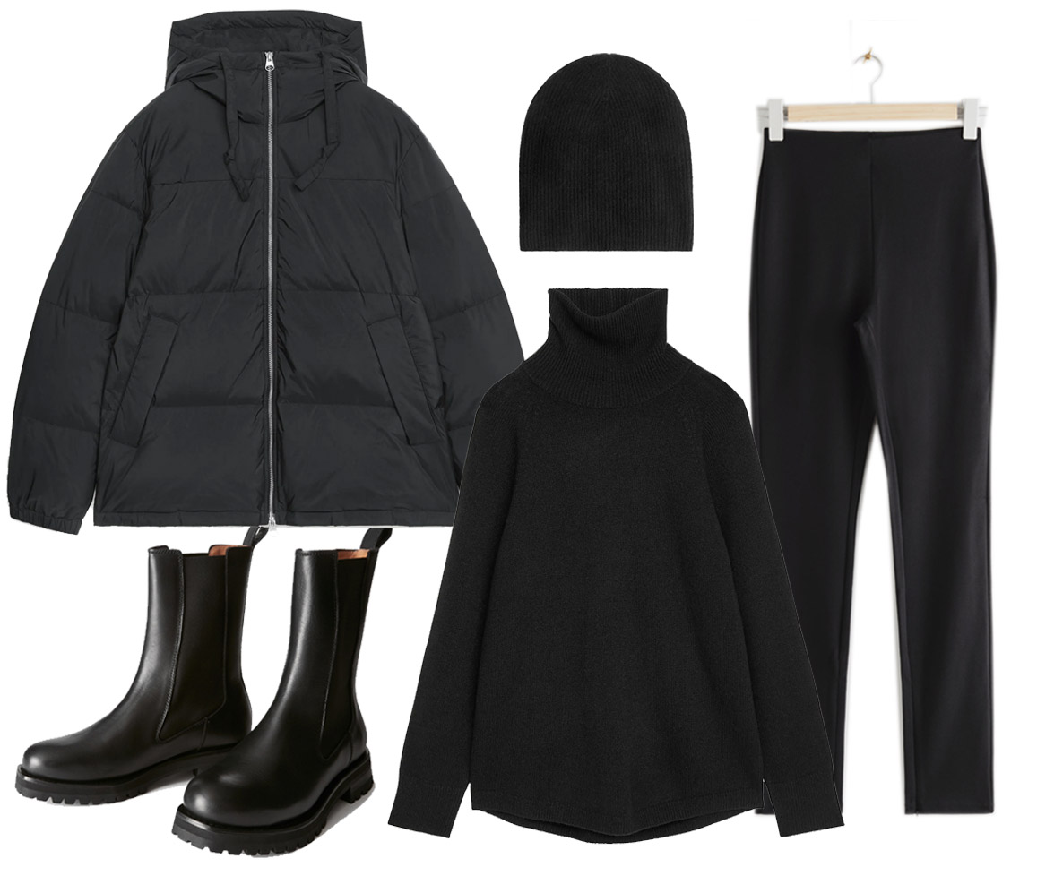 black puffer jacket outfit ideas
