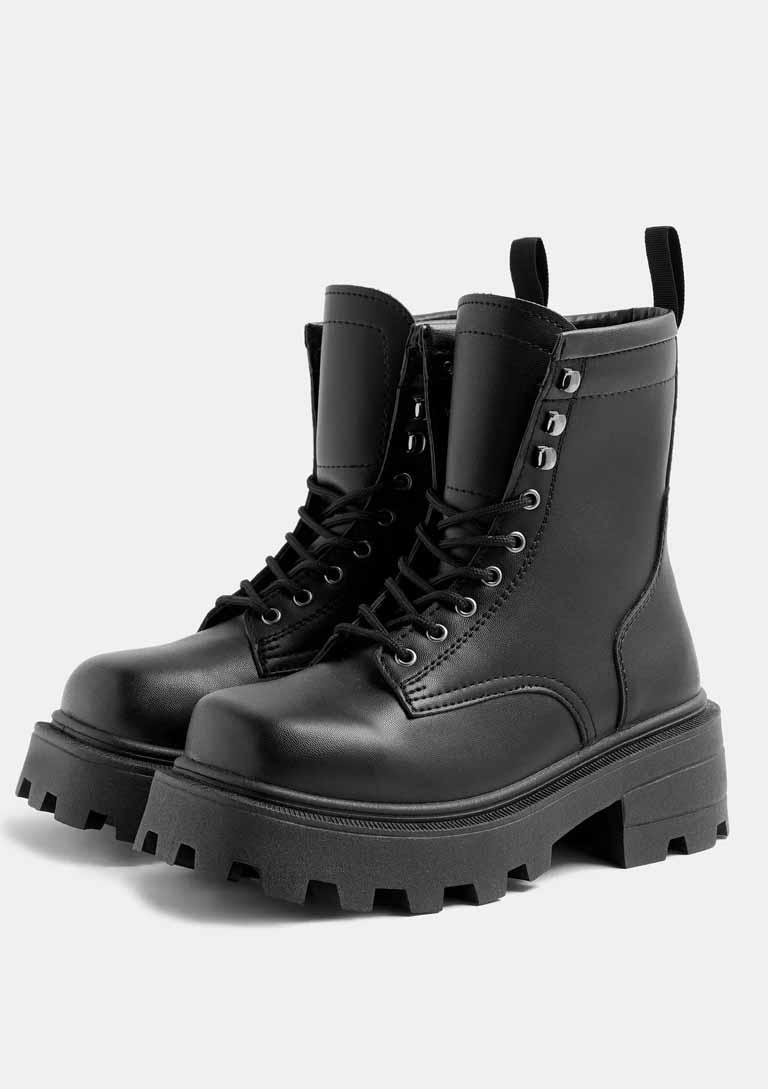 topshop lace up black boots