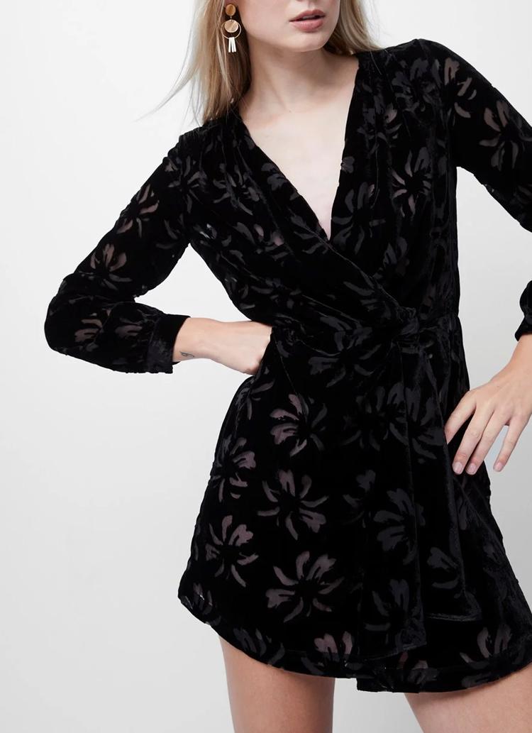 black mini velvet dress