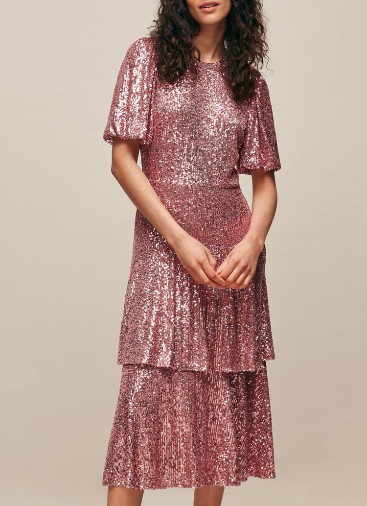 pink midi sequin dress