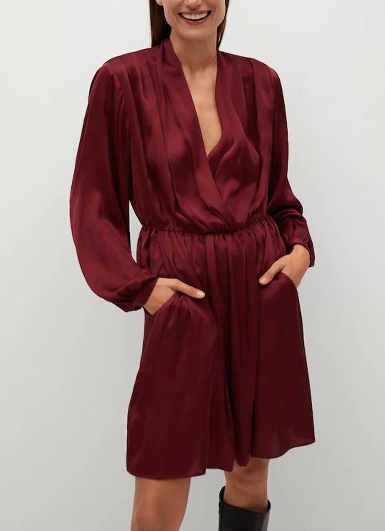 mango wrap burgundy dress