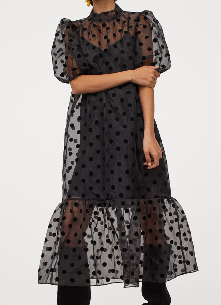 puff sleeve organza dress