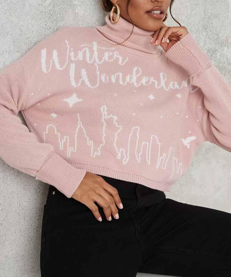 pink christmas jumper