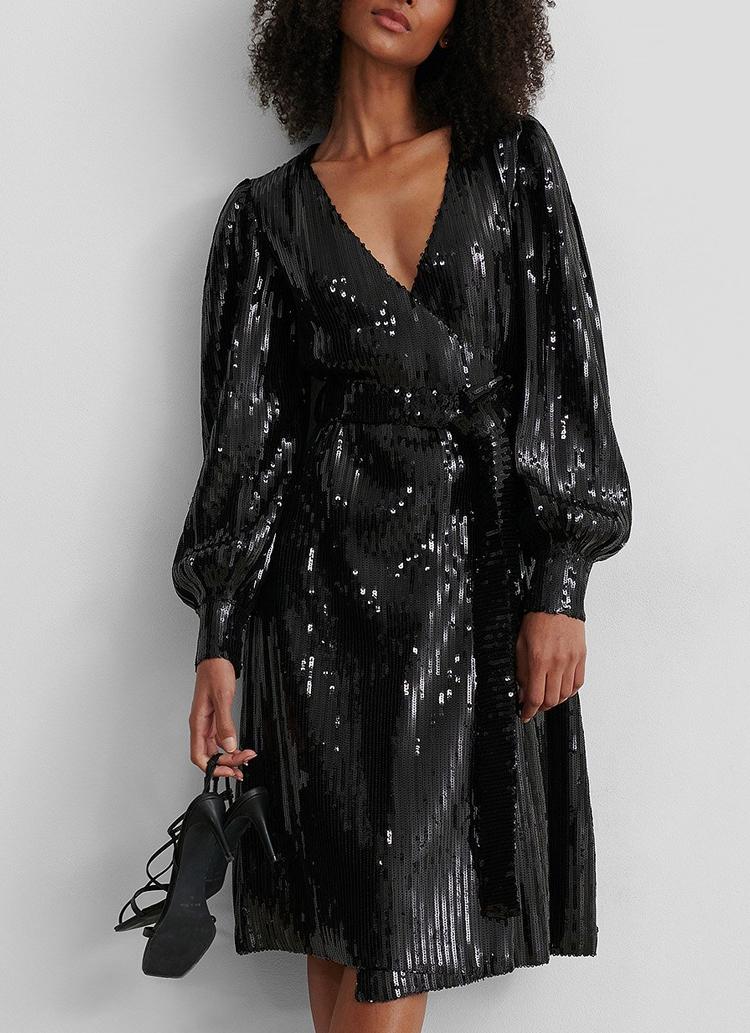 black midi sequin dress