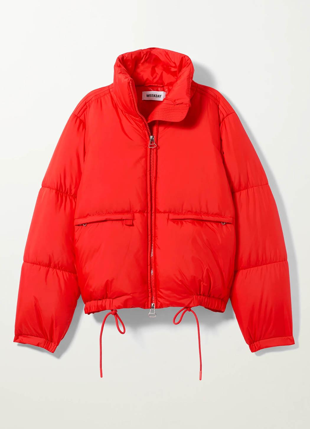 red puffer jacket weekday