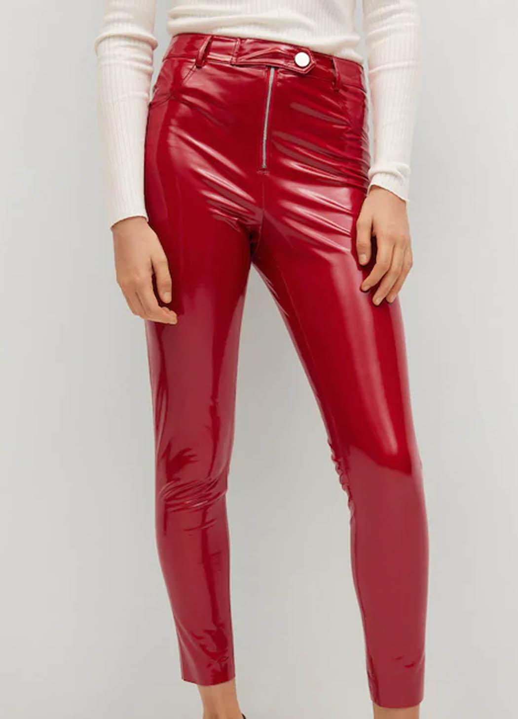 red vinyl leggings