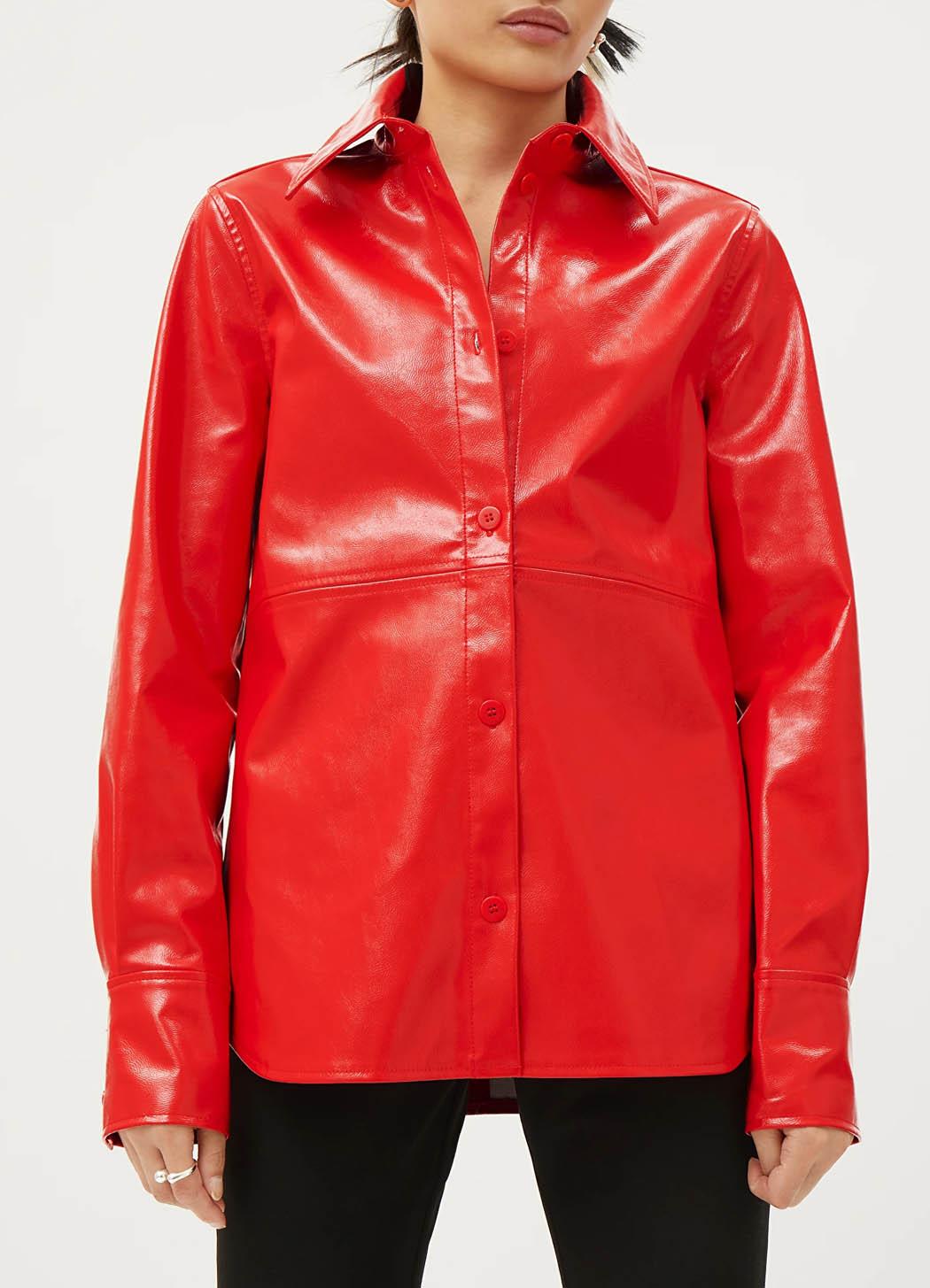 red vinyl shirt