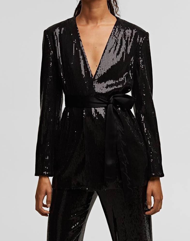 sequin belted blazer
