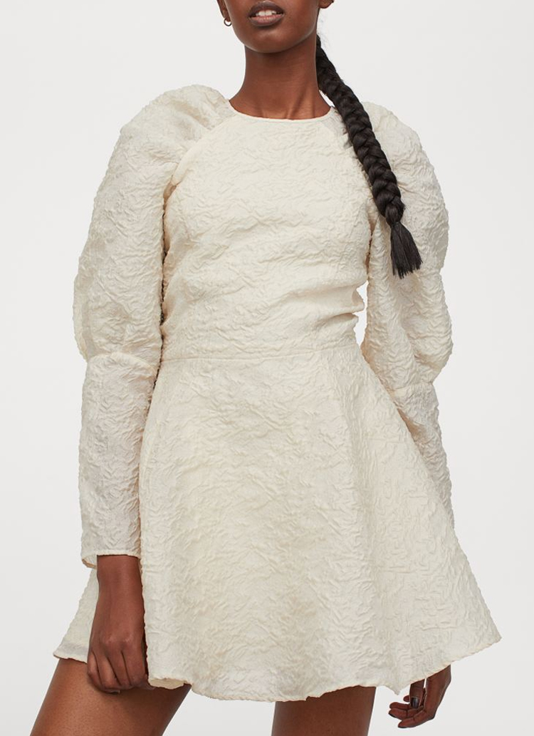 beige puff sleeve dress
