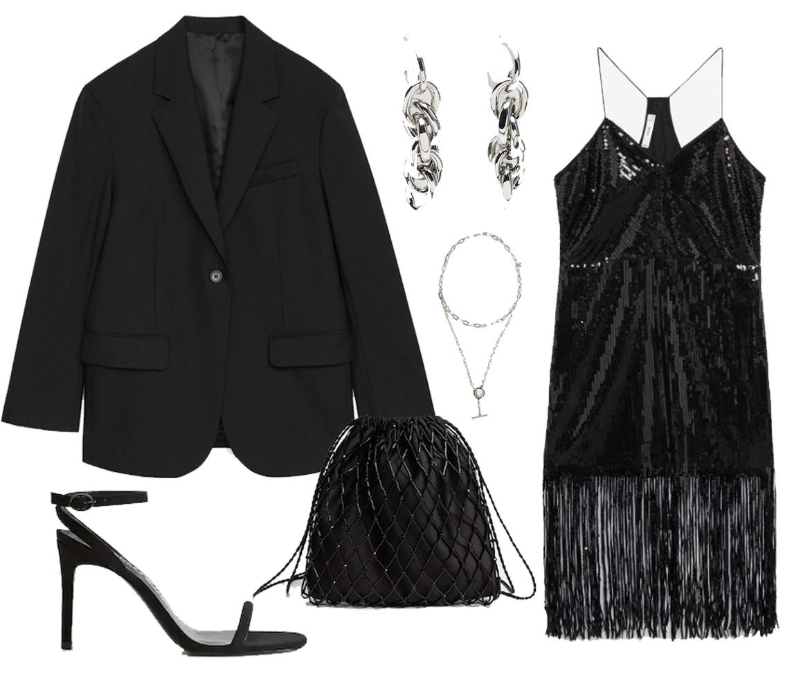 black sequin dress outfit