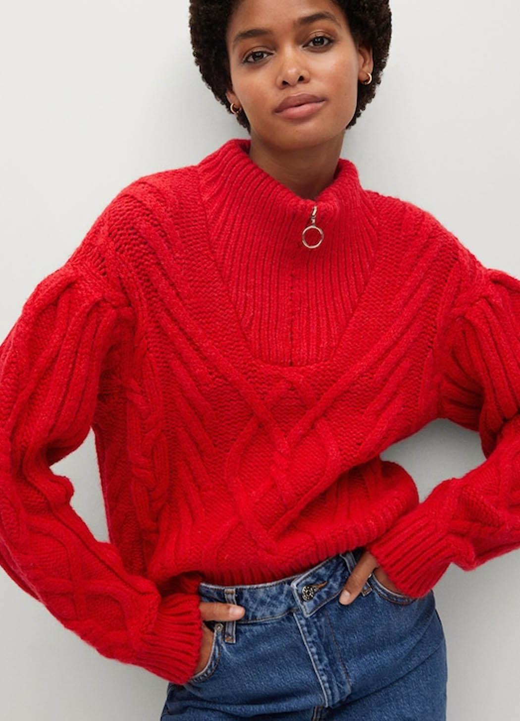 mango red zip knit