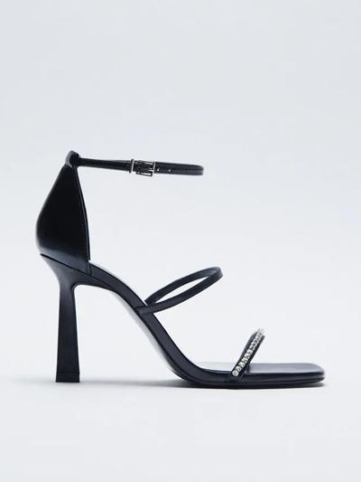 zara heeled black sandals