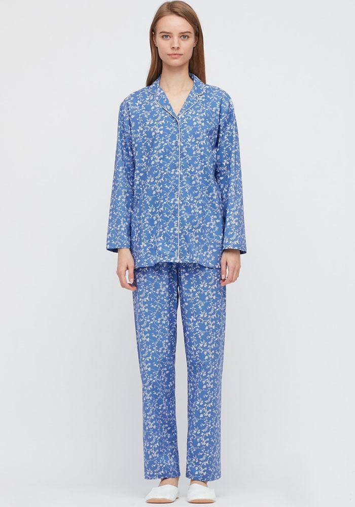 blue pyjama set for women uniqlo