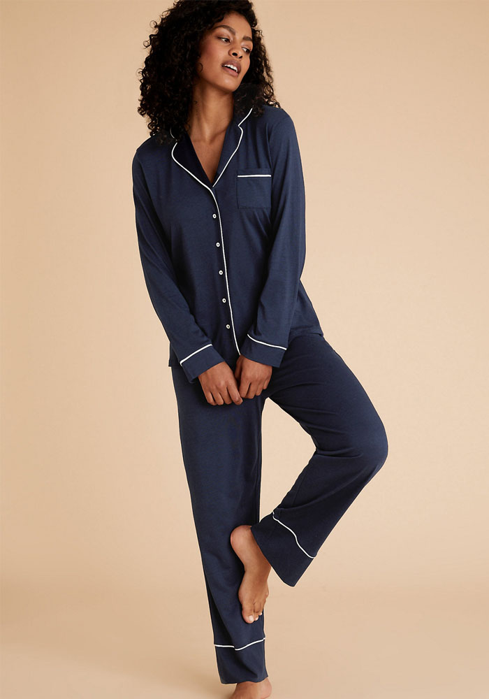 m&s navy satin pyjama