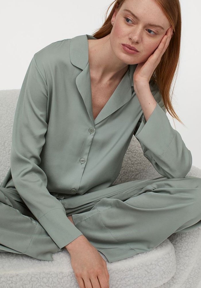 green satin pyjama h&m