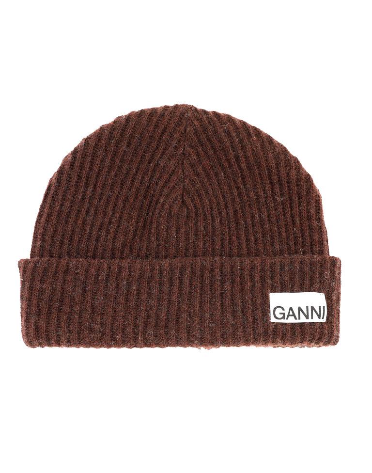 brown ganni hat
