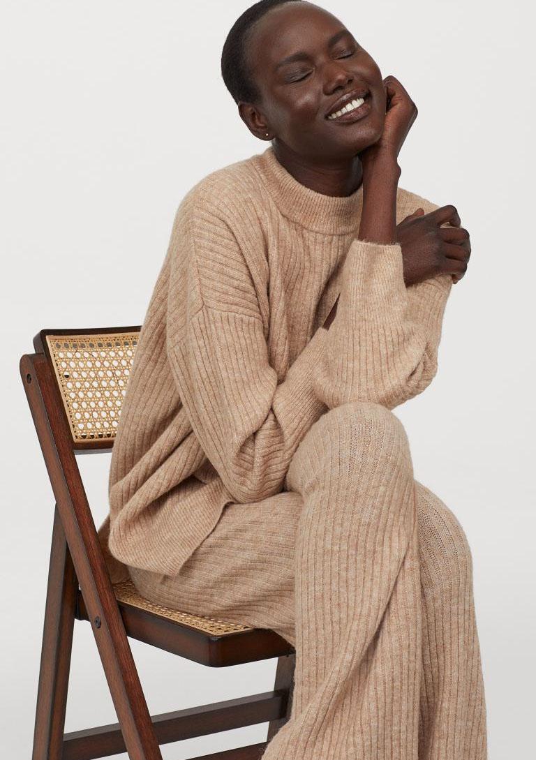 knit co ord camel
