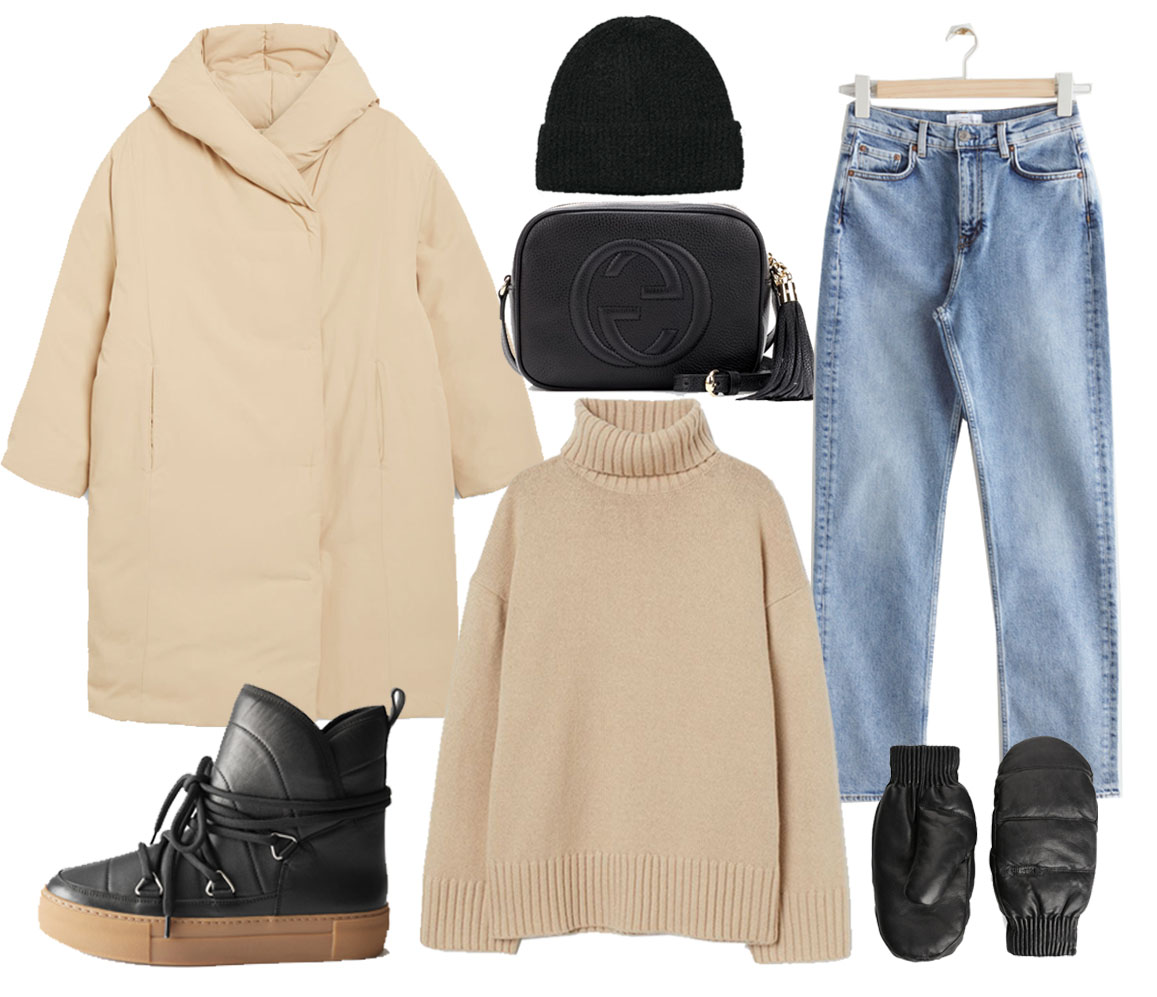 beige puffer jacket outfit ideas