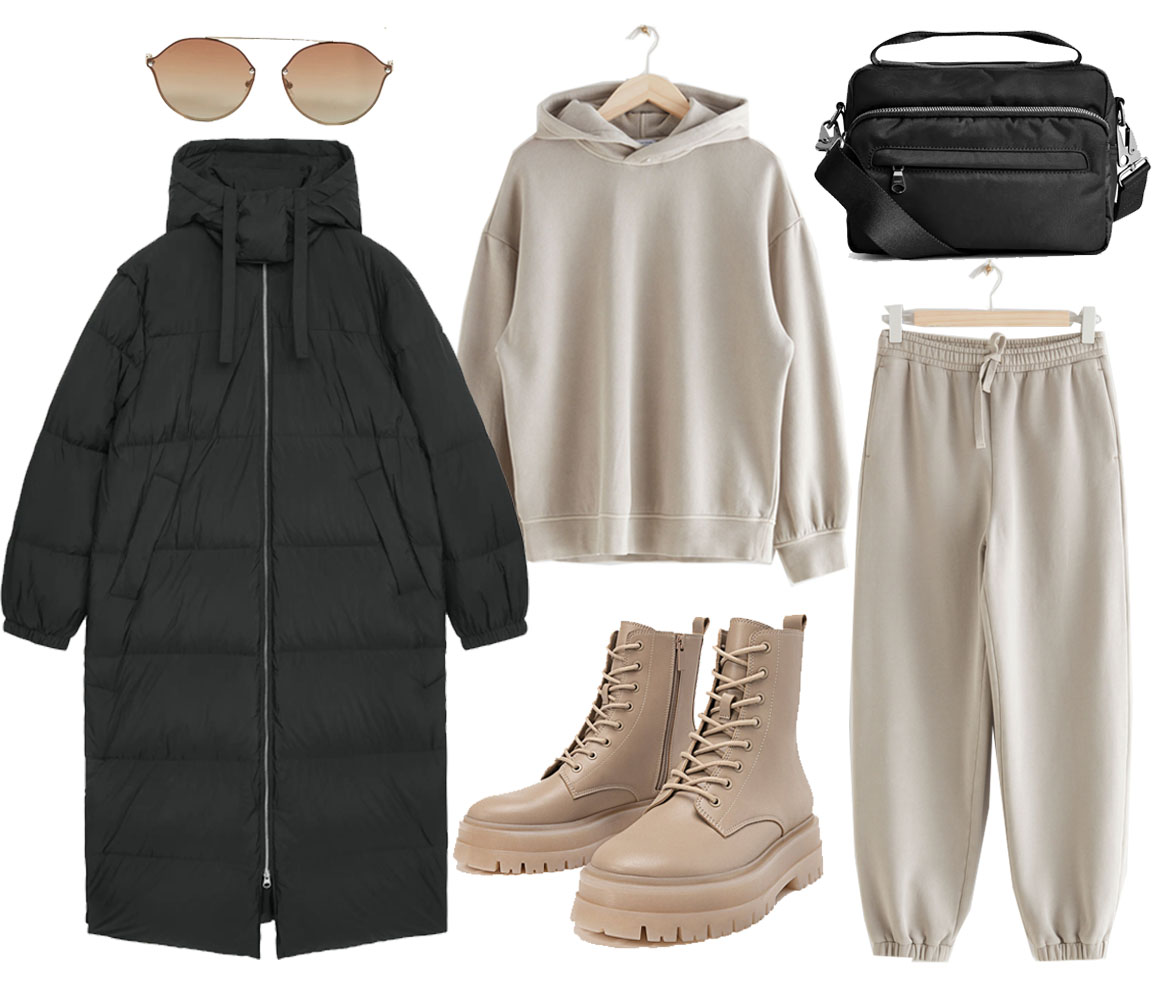 black puffer coat outfit ideas