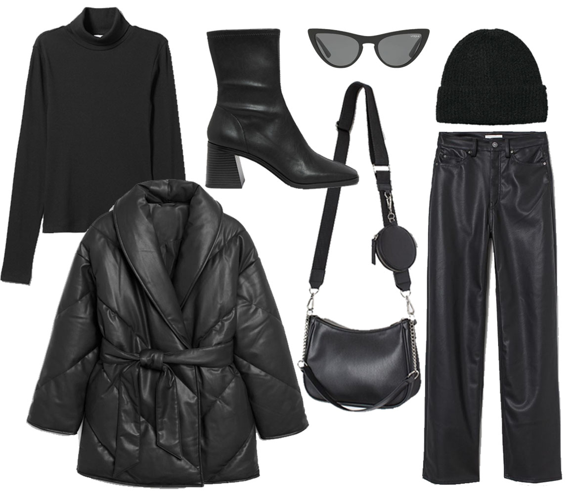 belted puffer jacket outfit ideas