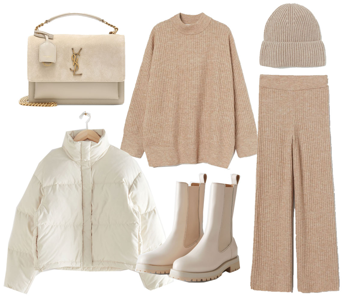 white puffer jacket outfit idea
