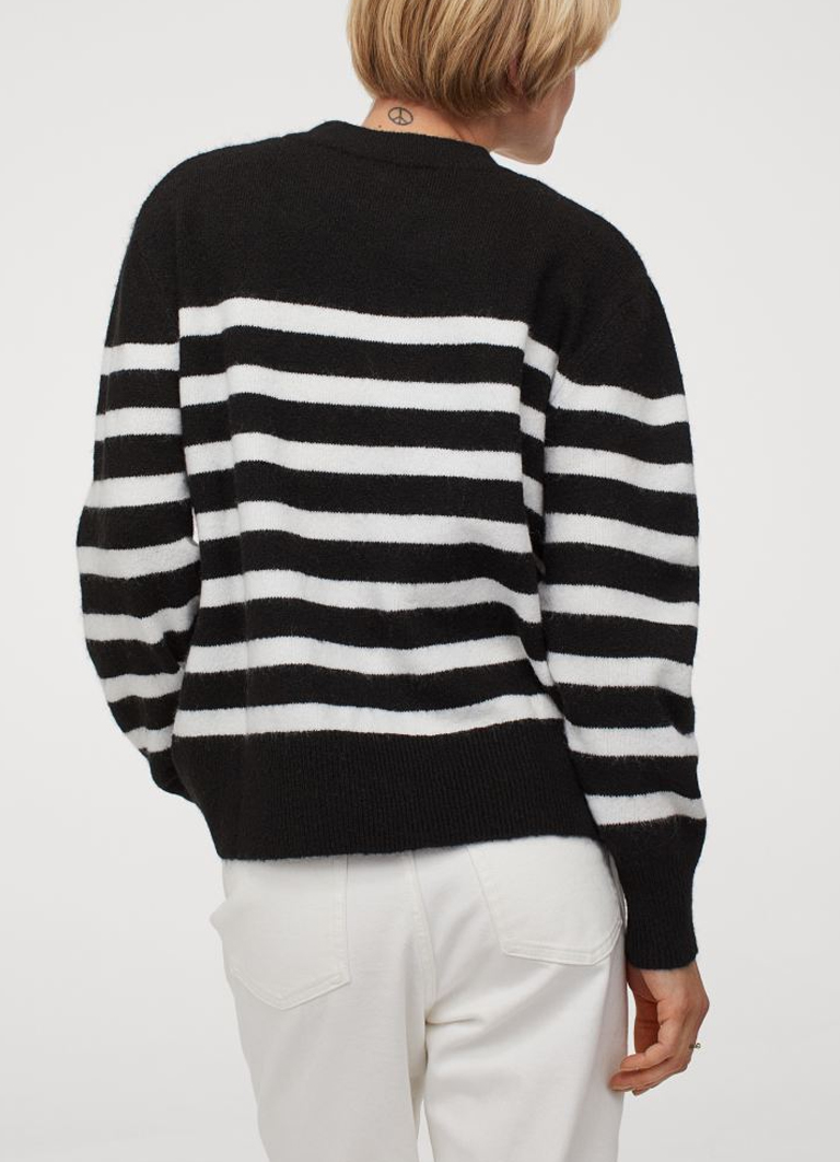 black and white striped jumper