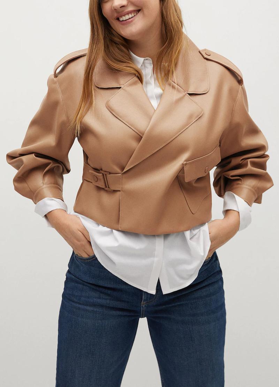 beige faux leather jacket mango
