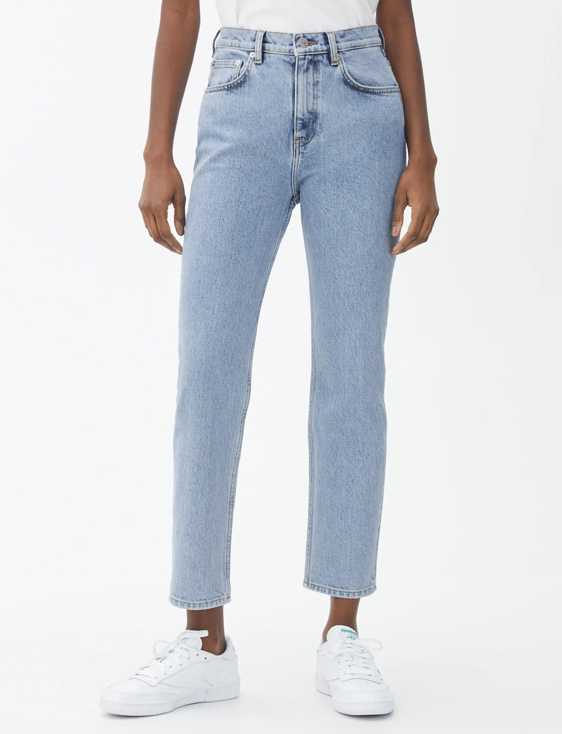 light blue cropped mom jeans