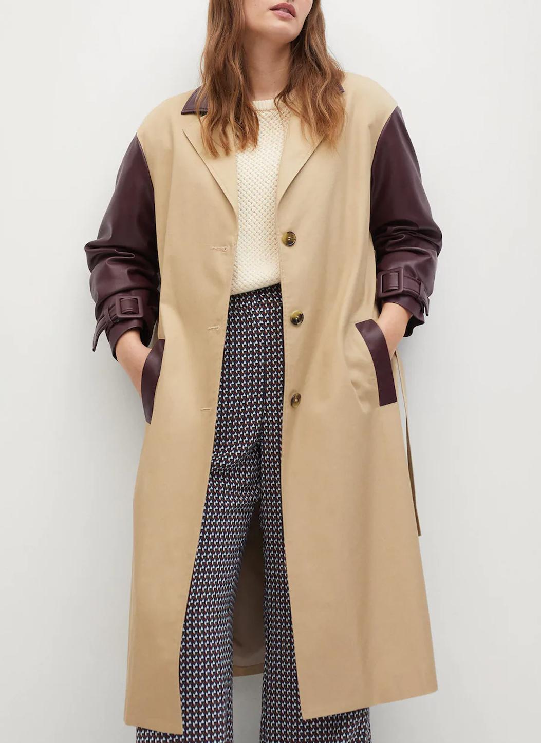 mango mixed fabric trench coat