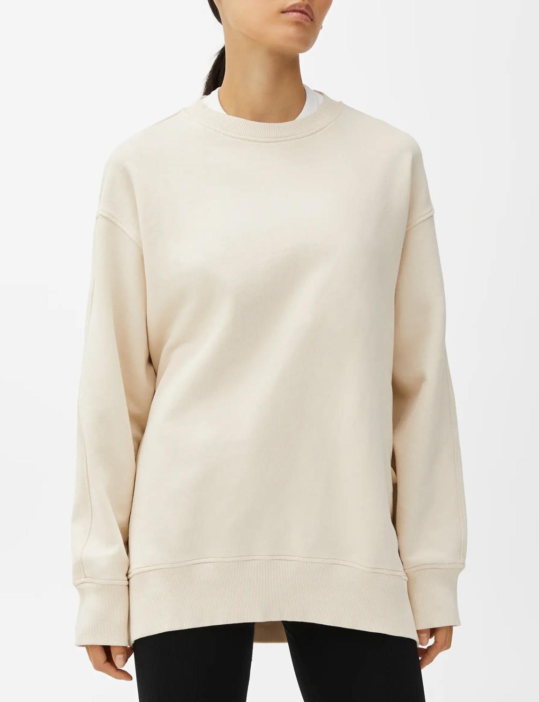 beige oversized sweatshirt woman