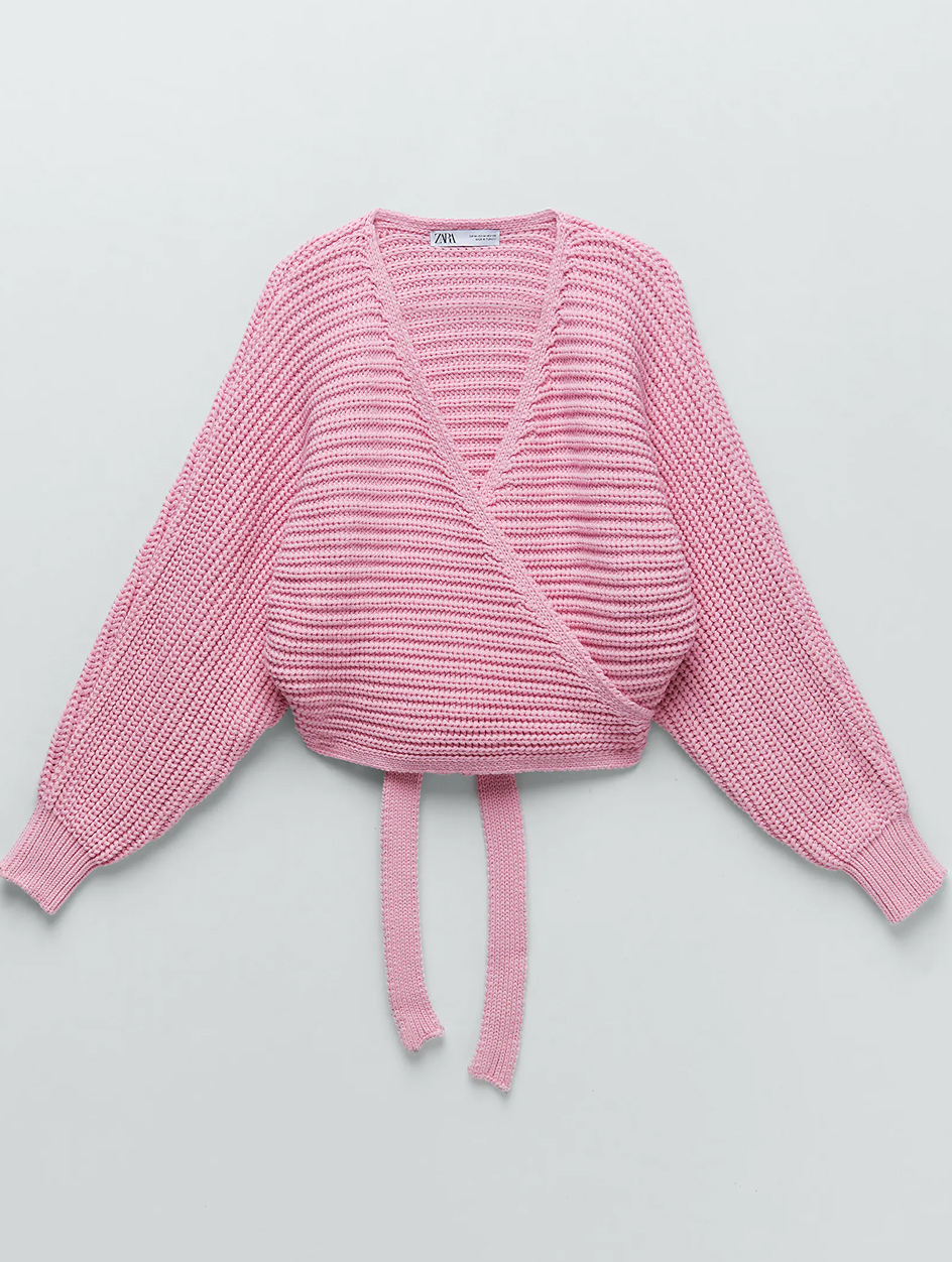 zara pink wrap cardigan