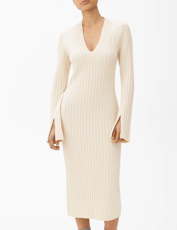 midi beige knit dress