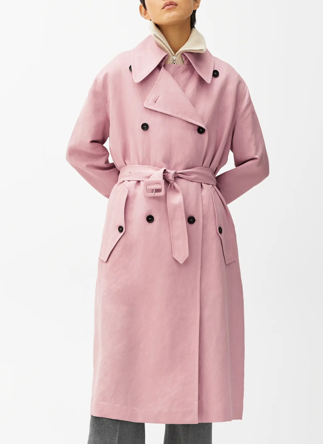 pink trench coat woman