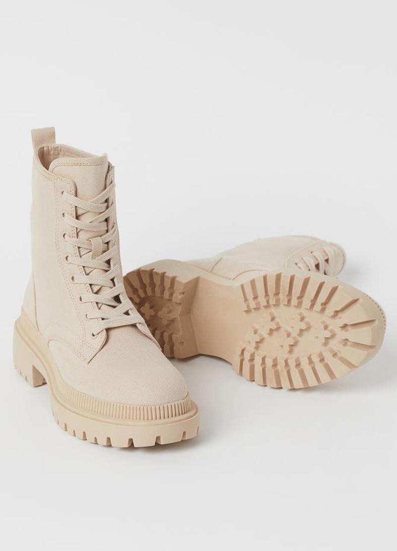 beige canvas boots h&M