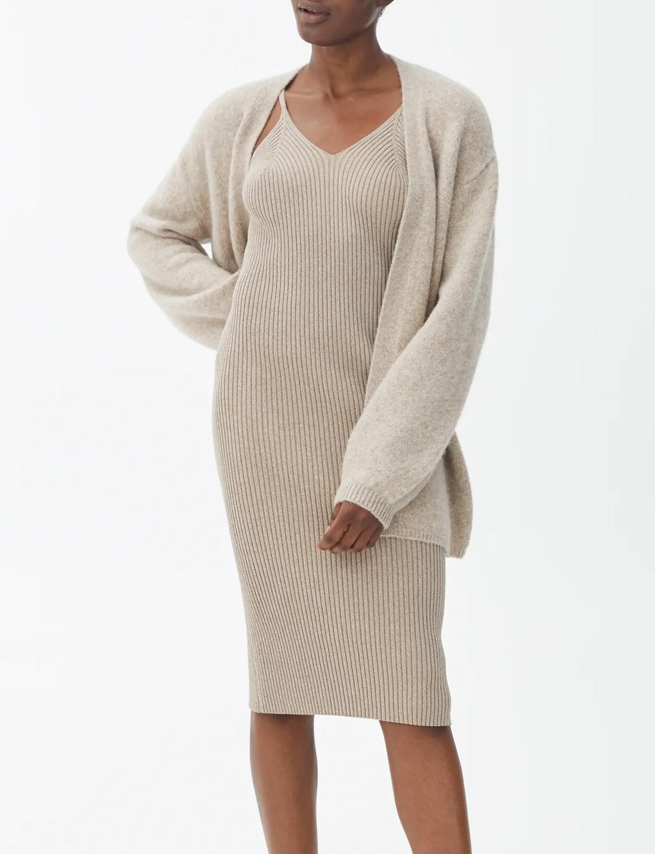 beige knitted dress arket
