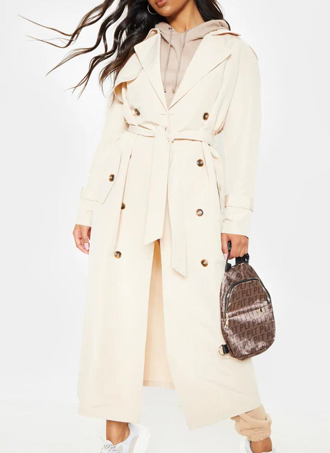 PLT cream trench coat