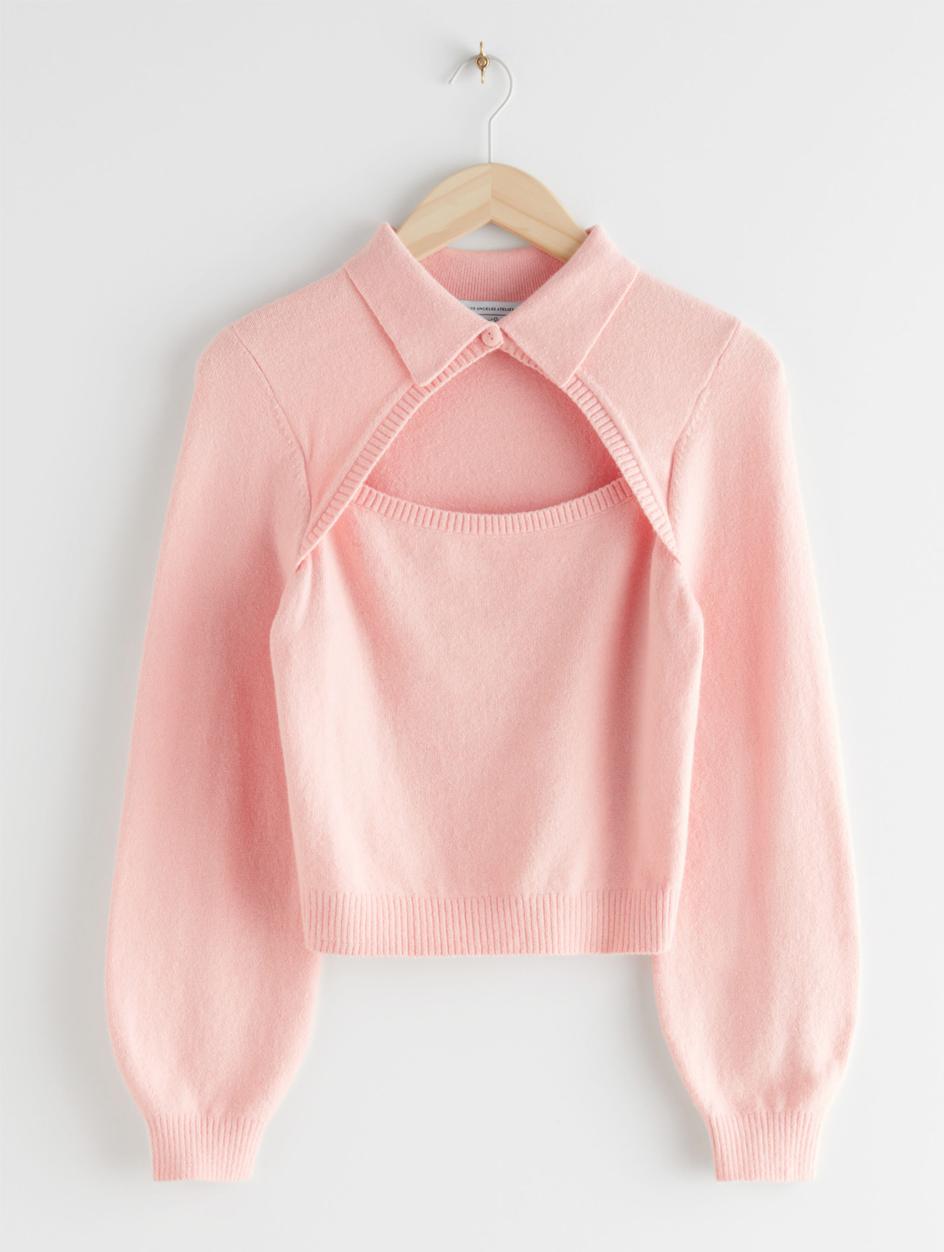 pink cut knit