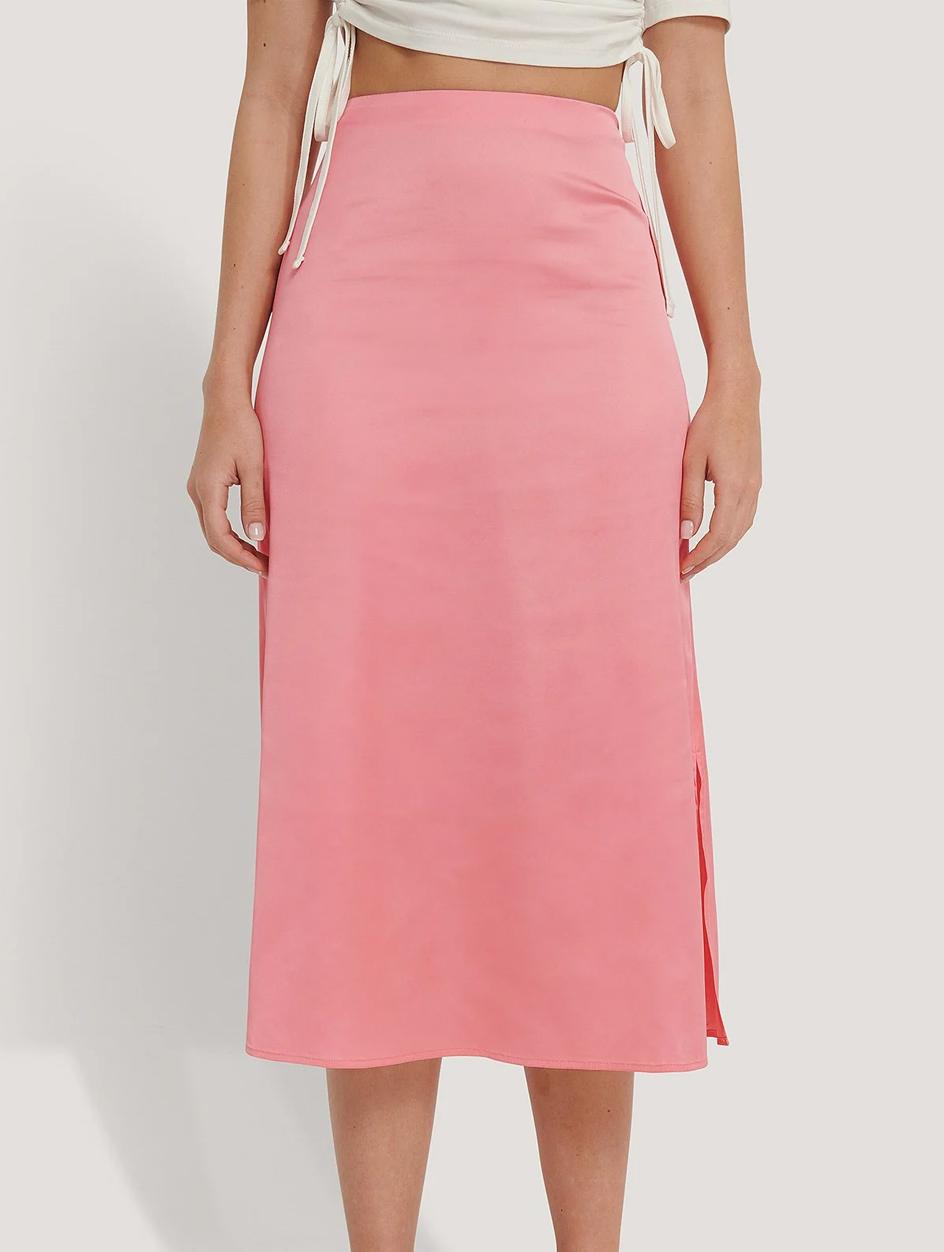 pink satin midi skirt