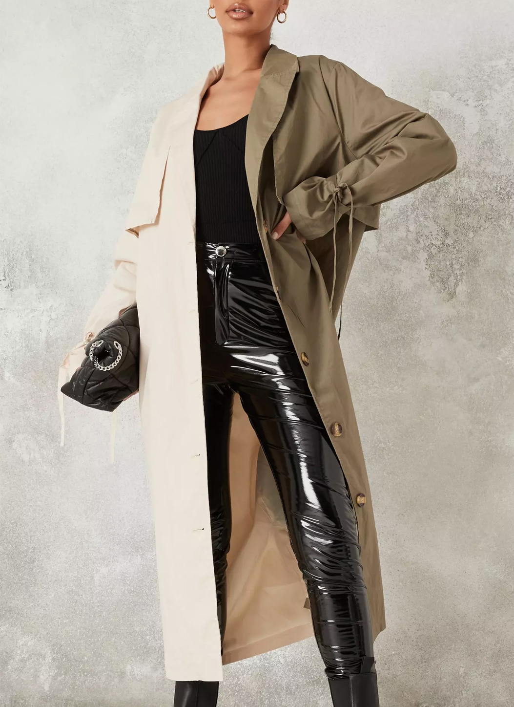 two colour trench coat missguided