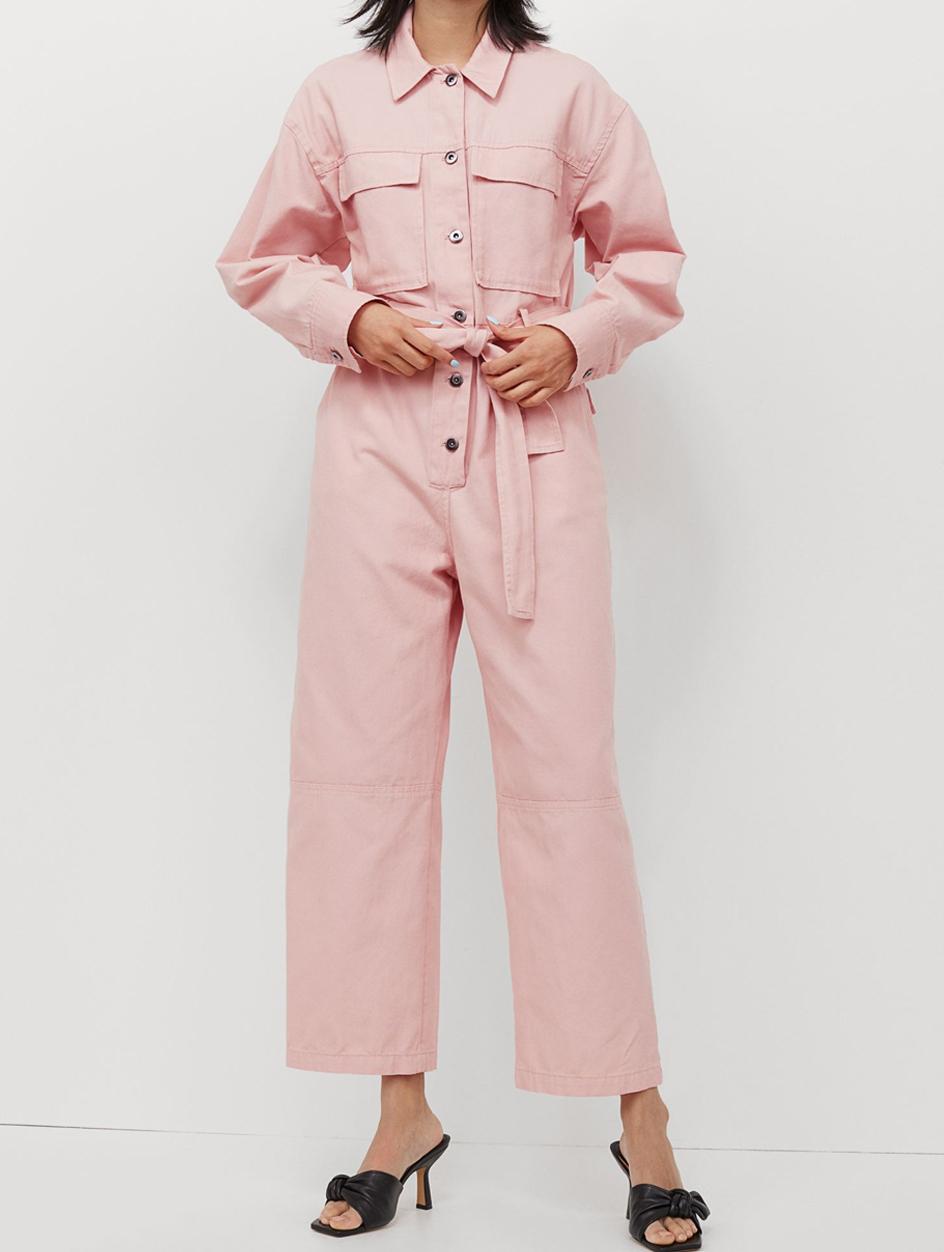 pink denim boilersuit