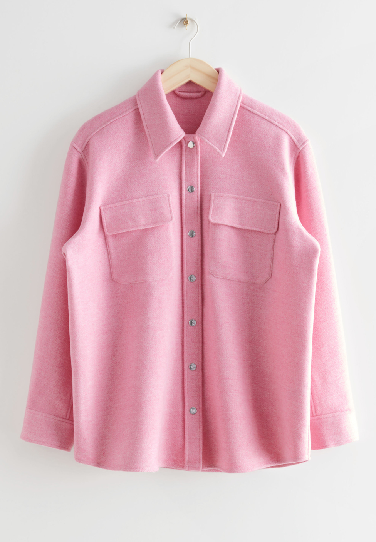 pink overshirt shacket