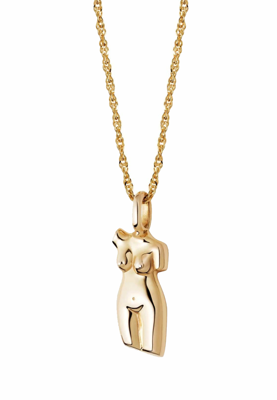 body shape gold necklace