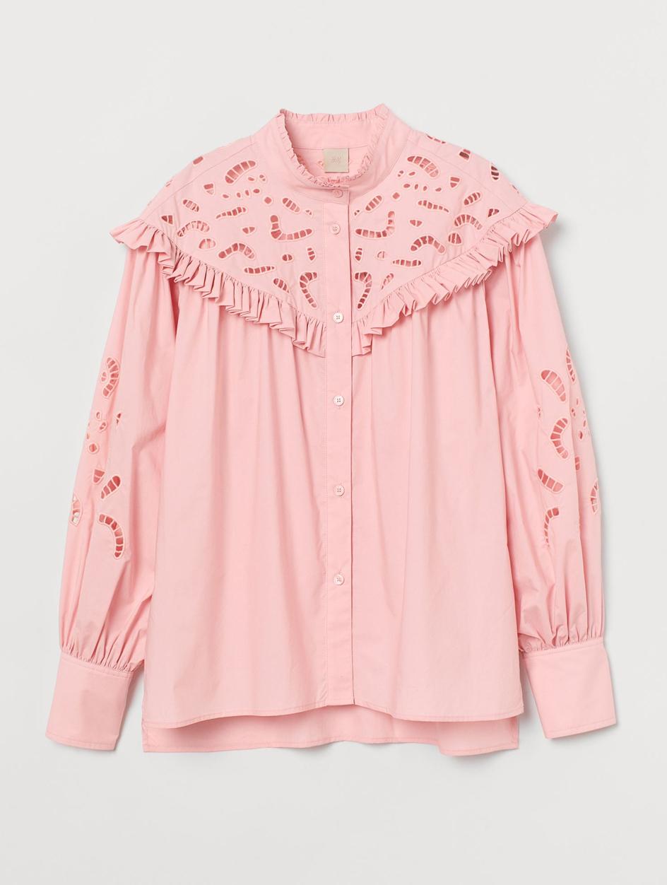 pink broderie shirt h&M