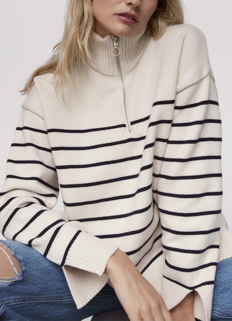 striped jumper with zip zara