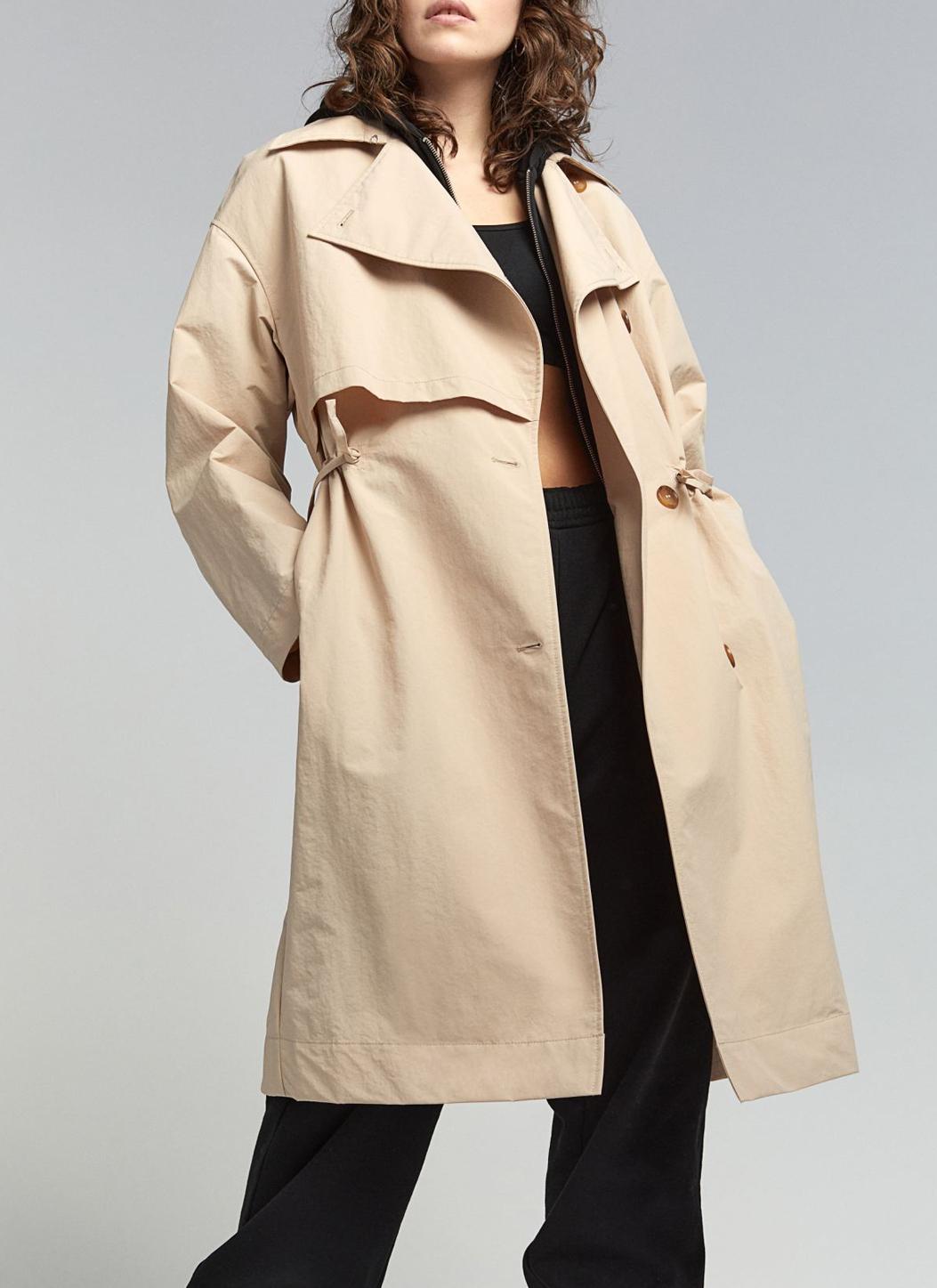 beige women trenchcoat h&m