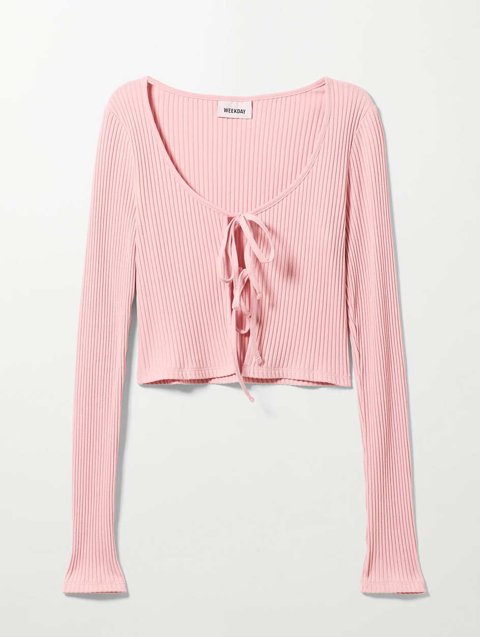 pink croppped knit
