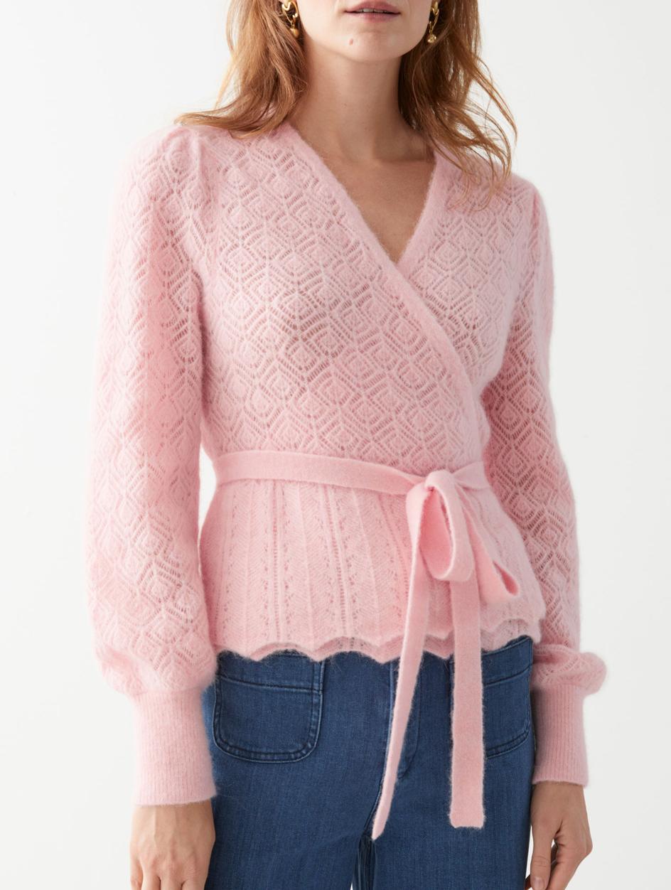 pink wrap cardigan